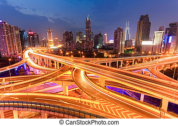 bright lights overpass at night - bright lights overpass in...