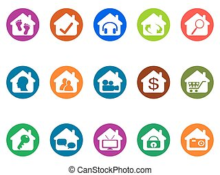 house real estate buttons icons set