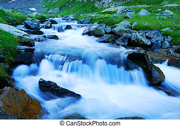 Mountain brook in the Caucasus. Net flow of cold water.