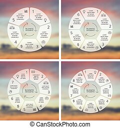 Circle line infographics set Template for cycle diagram,...