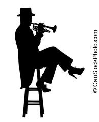 sentada, trompete, jogador