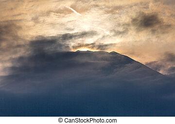 Mountain Fuji Diamond sunset Lake Yamanaka - Mountain Fuji...