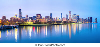 Chicago downtown and Lake Michigan Panorama - Panorama of...