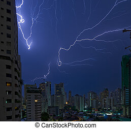 lightning strikes in bangkok - multiple lightning strikes in...
