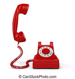3d vintage red phone on white background