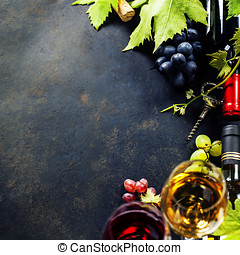 Wine and grape - Food background with Wine and Grape. Lots...