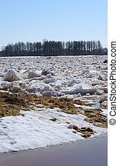 Drifting ice in the spring on the river