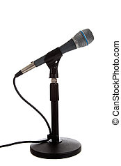 Microphone on a mic stand on white