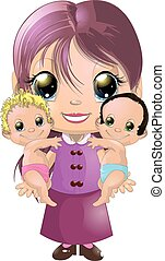 Girl and two babies - The girl is holding two babies on a...