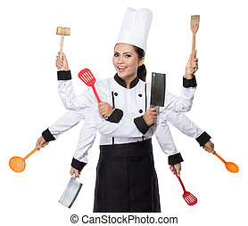 Pretty woman Chef in action - portrait of Pretty woman Chef...