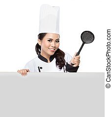 Chef, mujer, presentación, bastante