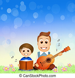 father and son sing together - illustration of father and...