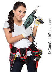 pretty young woman construction worker - Female construction...