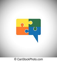 vector icon of talk or chat icon or speech bubble as puzzle...
