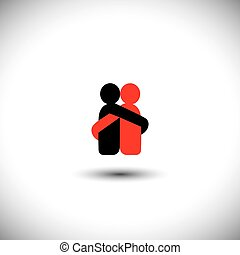 lovers hug each other in