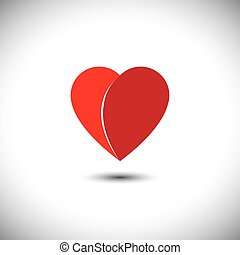 simple red heart love icon with 2 parts - vector icon. This...