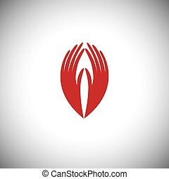 indian womans hand greeting posture of namaste - vector graphic