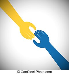 vector icon of two hands touching - concept of receiving,...