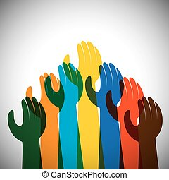 vector icon of many hands in the air - concept of unity,...