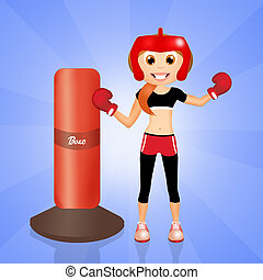boxe girl - illustration of boxe girl