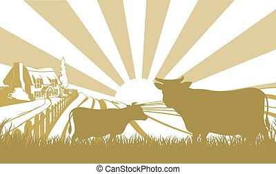 Cattle farm scene - An illustration of a farm house thatched...