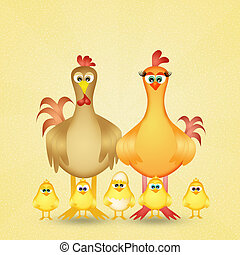 chickens family - illustration of chickens family