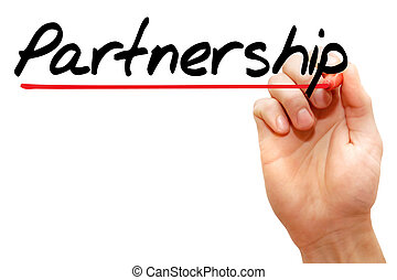 Hand writing Partnership, business concept - Hand writing...