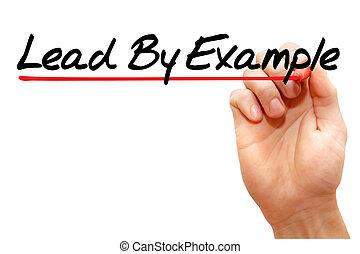 mão, escrita, liderar, por, exemplo, negócio,...