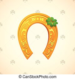 Lucky horse shoe - Lucky horseshoe and clover as symbols for...