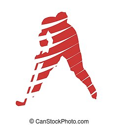 Abstract red hockey player