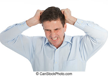 Angry Young Businessman Pulling his Hair