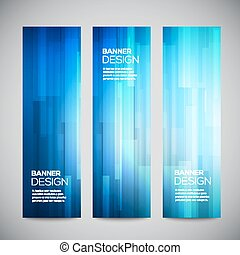 Blue low poly vector vertical banners set with polygonal...