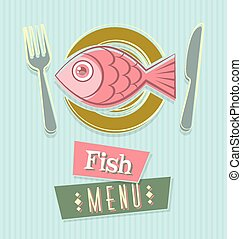 Menu cover - Fish restaurant menu cover document template in...