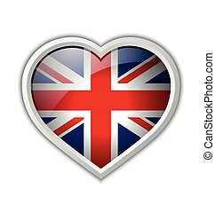 British heart - Glossy British heart icon isolated on white...