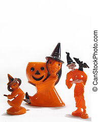 Rare Antique Halloween candy cup and cake topper of witches...