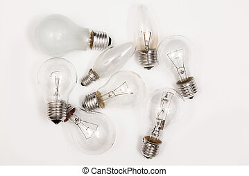 Different lightbulbs on grey background