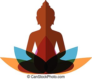 meditation budha with lotus on white background