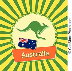 Australian badge with national flag of Australia and...