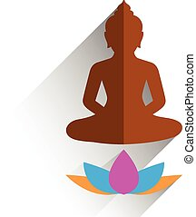 budha sitting on lotus flat design