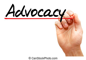 Hand writing Advocacy, business concept - Hand writing...