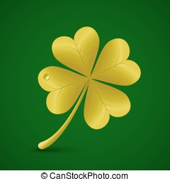 Four leaf clover St Patricks day symbol - Four leaf golden...
