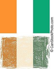 Cote d'Ivoire grunge flag. Vector illustration. Grunge...