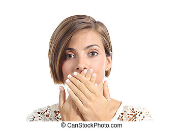 Woman covering her mouth because bad breath isolated on a...