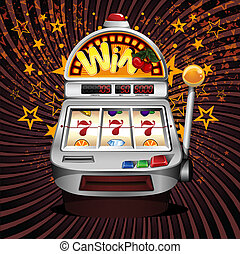 A vector slot fruit machine winning on sevens. - A vector...