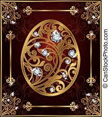 Golden diamonds easter egg, vector illustration