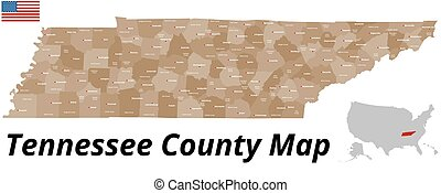 Tennessee County Map - A large and detailed map of the State...