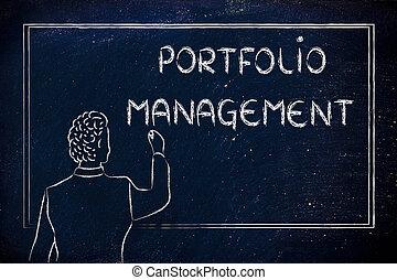 teacher or ceo explaining about portfolio management -...