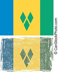 Saint Vincent and the Grenadines grunge flag. Vector...