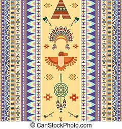 Vector vintage tribal ethnic seamless pattern for business...
