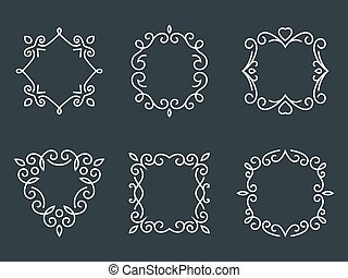 Outline monogram frames - Set of outline monogram frames...